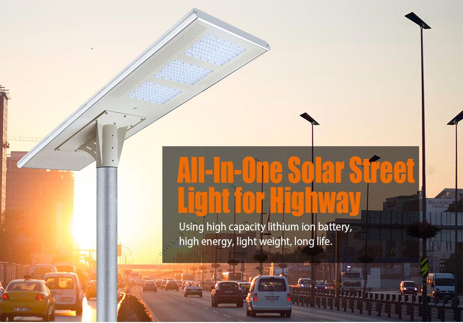 Outdoor Road Lighting 150LM/W Energy Motion 12V Battery Smart Control 100W Solar LED Street Light