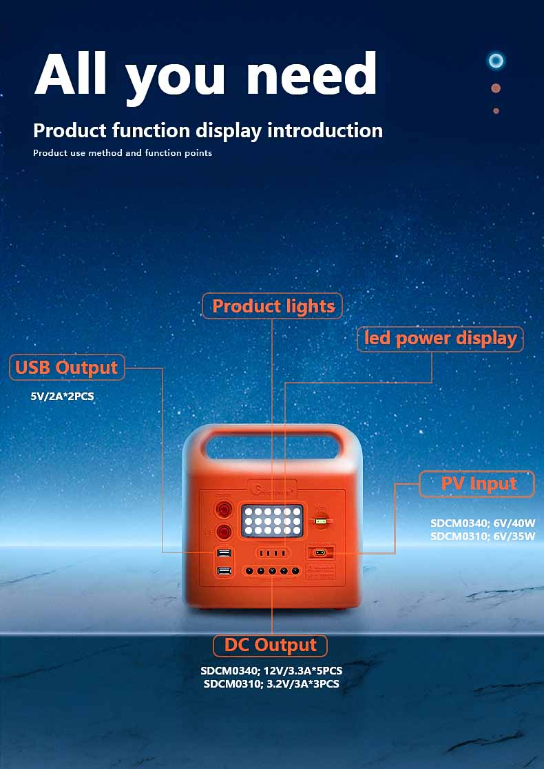 New Design Portable High Quality Solar Power System Home With Radio and Fan for No-Electricity Areas
