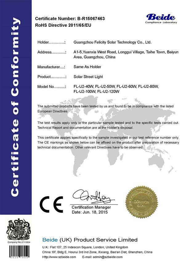 7463 ROHS Certificate for solar street light